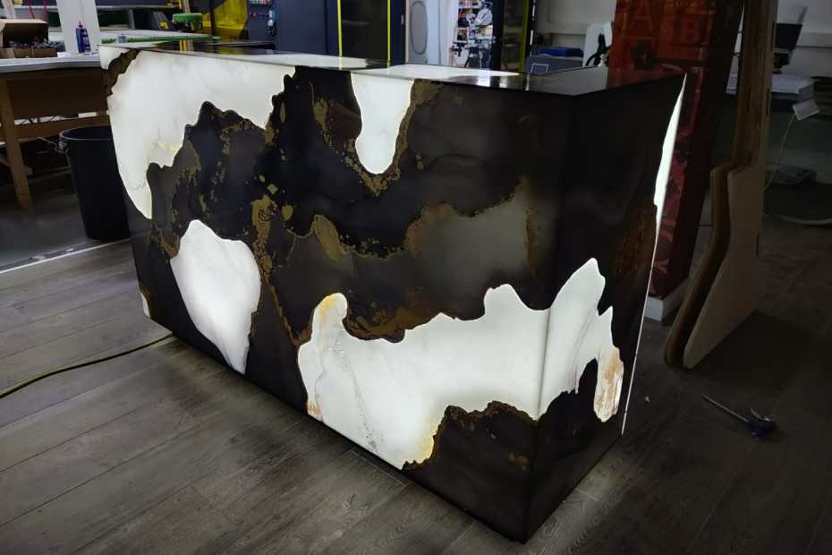 Manufacture of marble effect reception counter