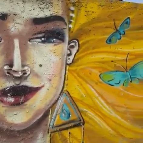Фрагмент граффити в Шымкенте