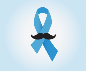 Prostate cancer ribbon awareness on blue background. Light blue ribbon with mustache