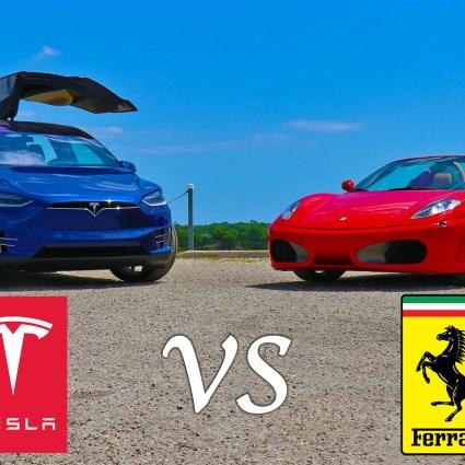 Teslat X P90D Ludicrous vs Ferrari