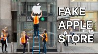 Ils font la queue devant un Apple Store fake