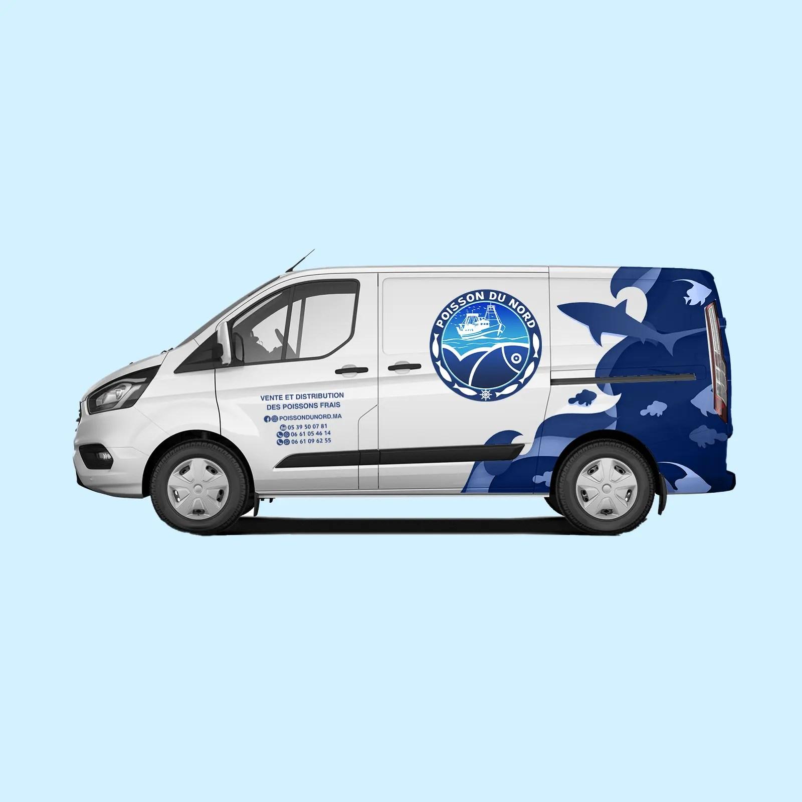 Poisson Du Nord Habillage de Vehicule Ford Transit Custom 2