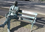 Casting long shadows... physically and metaphorically... Patrick Kavanagh beside the Grand Canal in Dublin, Ireland