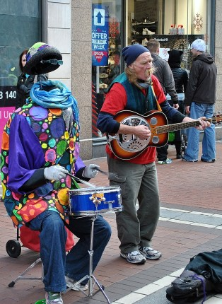 Busking is hard work... especially with no head!