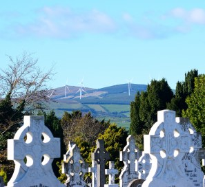 The new wind turbines on the hill at Croghan... as seen from the Arklow Cemetery...