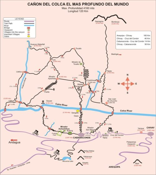 Map Canyon du Colca Pérou Treck