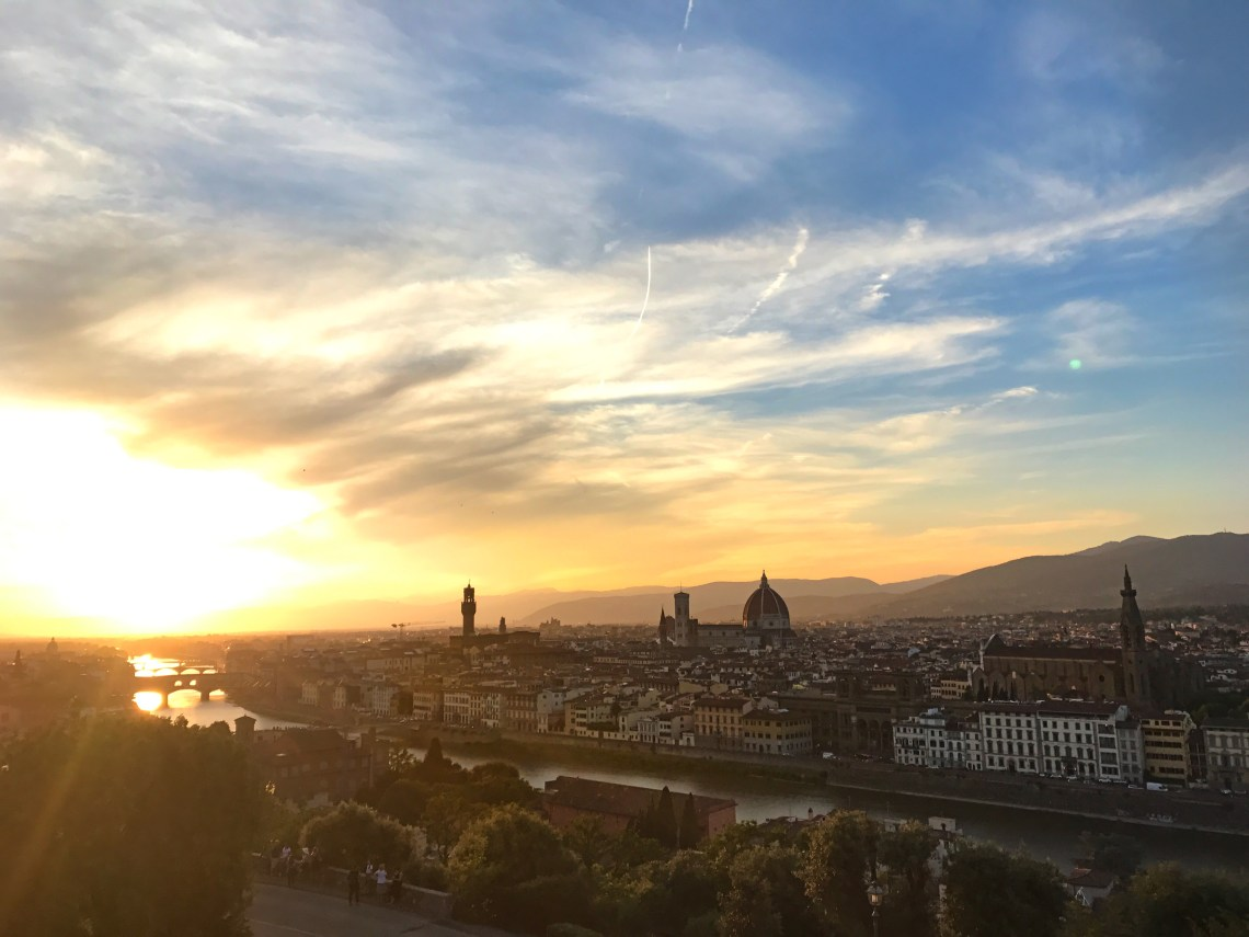 Picturesque skyline of the city of Florence including the river and the major buildings of Florence