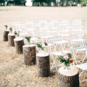 Rondins de bois cérémonie mariage