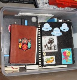 Chris's box of sketchbooks
