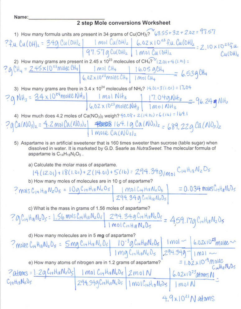 Grams To Moles Conversion Worksheet With Answers 2015 ...