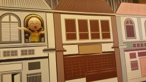 Cute retro balloon doll girl facing out of the window