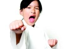 Korean child in a karate pose