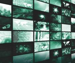Wall of TV News screens