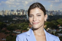 Businesswoman against the Sao Paolo skyline