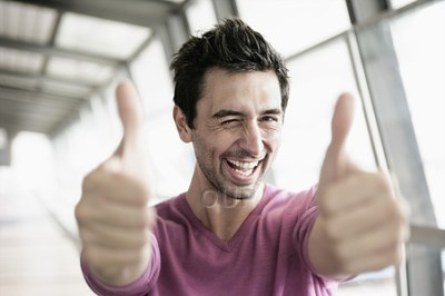 Man holding thumbs up