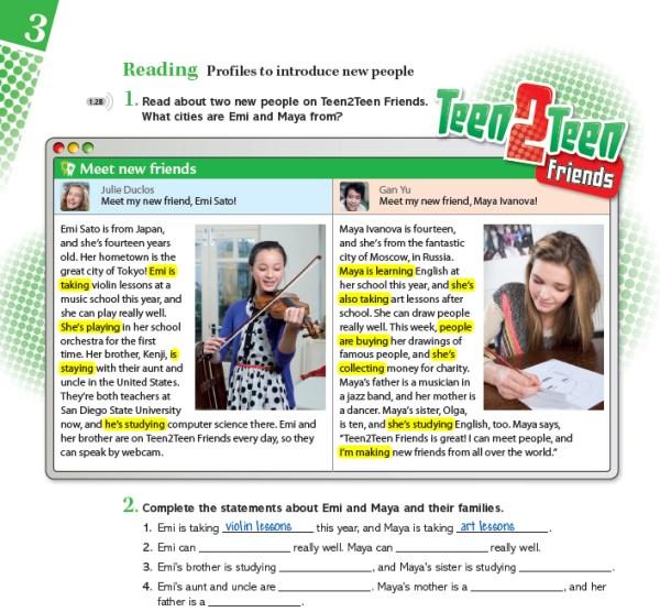 Extract from Teen2Teen - Grammar exercise