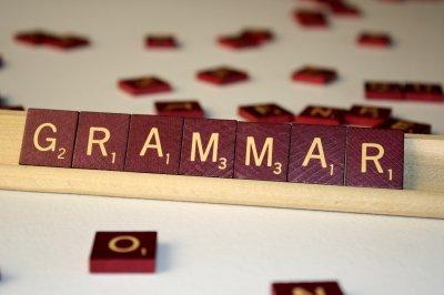 Word grammar spelt in scrabble letters