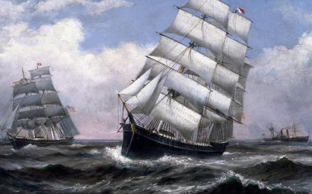 Oil painting of old naval ships