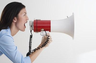 woman using megaphone