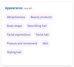 Topic vocabulary: Appearance