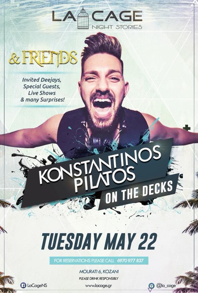 Ο DJ K. Pilatos στο La Cage club στην Κοζάνη, την Τρίτη 22 Μαΐου