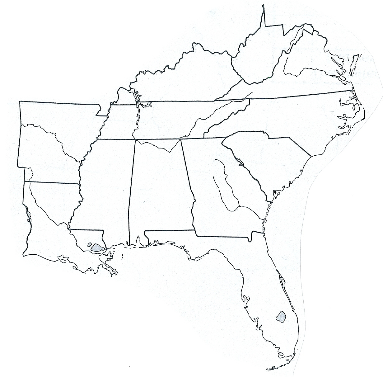 Map Southeast United States Worksheet