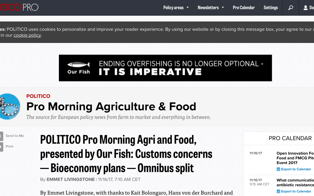 POLITICO Pro Morning Agri and Food: Study Critical of Baltic Sea Fishing