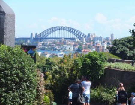 View of the Sydney Harbour Bridge from the entrance of the Taronga Zoo