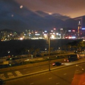 The view of Victoria Harbour from our window at the Kowloon Shangri La