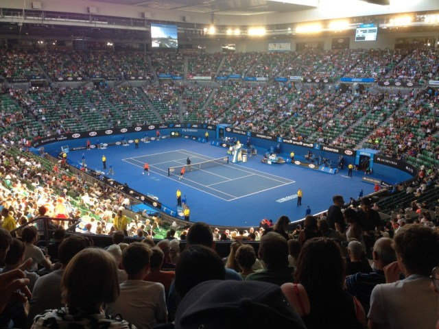 Rod Laver Arena aka Centre Court before play commenced.