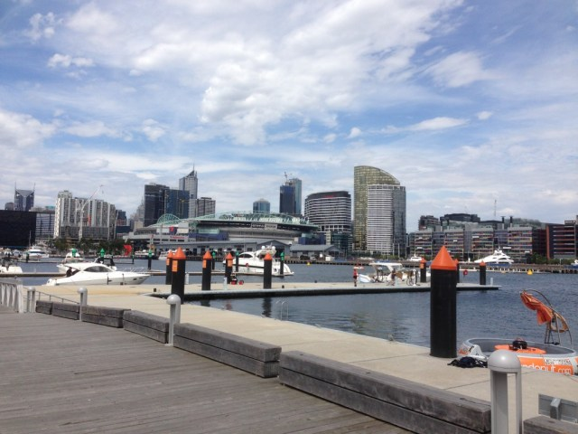 Looking back at the city from the end of the pier at Docklands.