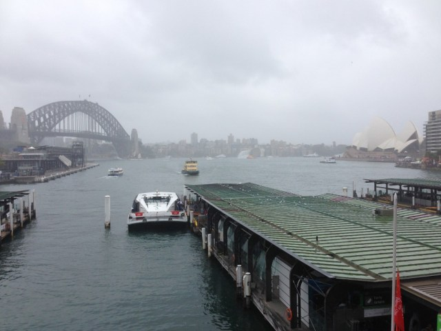 The view when you get off the train at Circular Quay, rain hail or shine it always beautiful.