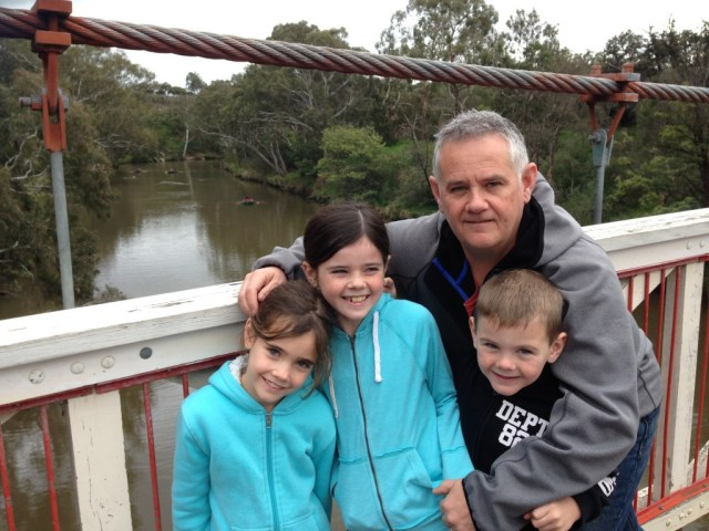 Photo with dad with the Yarra River in the back ground