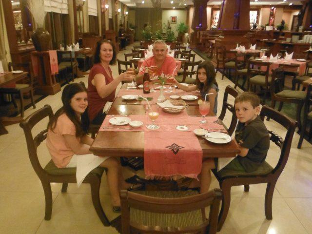 Family dinner at the hotel restaurant