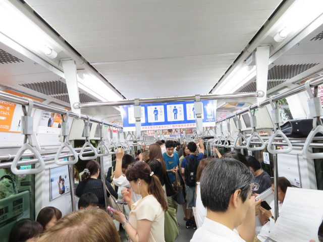 The Yamanote Line at peak hour, not too bad. Peak hour is spread over many hours in Tokyo.