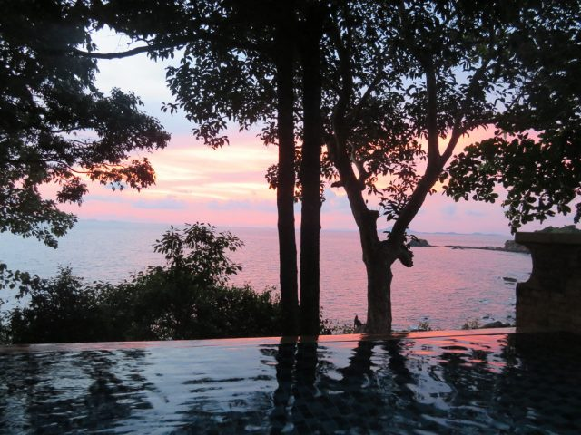 Our first sunset from our private plunge pool villa.