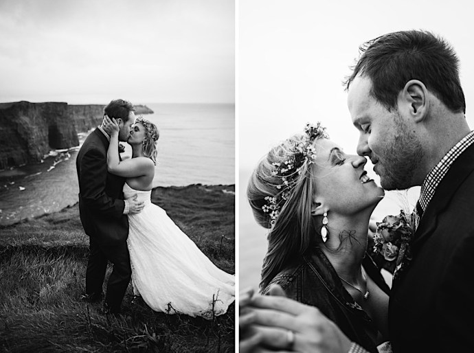 Recently married couple on the sea cliffs of Ireland