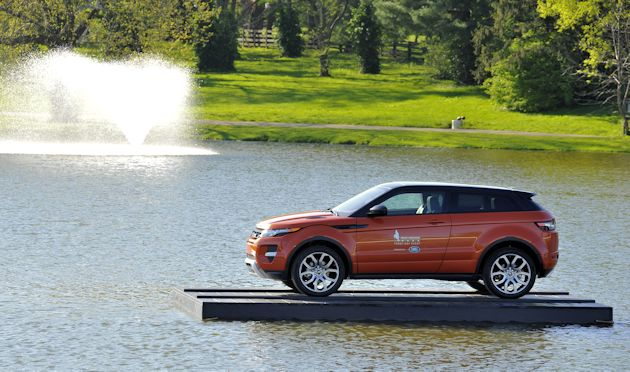 a2015 Land Rover Evoque Floating on lake