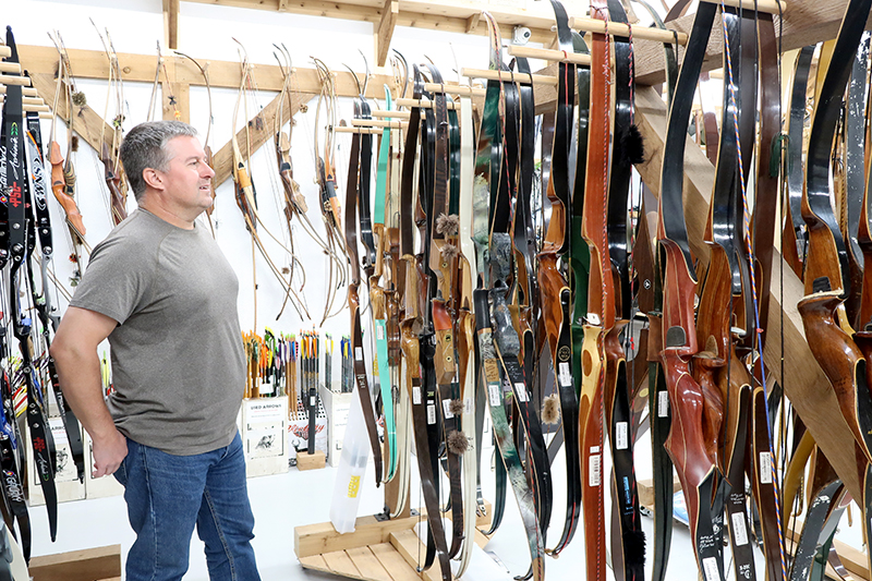 Browsing an Archery Shop, looking at the selection of recurve bows
