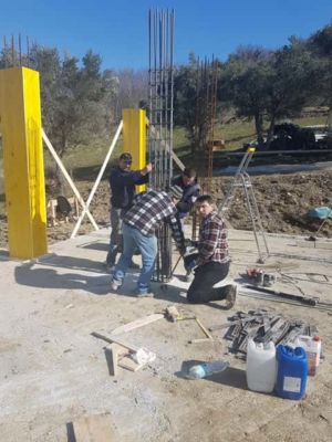 Continuing Yesterday's Form Work at new house construction site in Le Marche