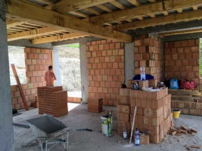 Building Study Wall of new house being constructed near Macerata, Le Marche