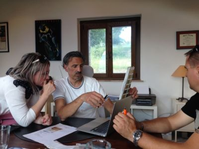 Comparing Window and Beam Colors in a design planning meeting for a new house in Le Marche