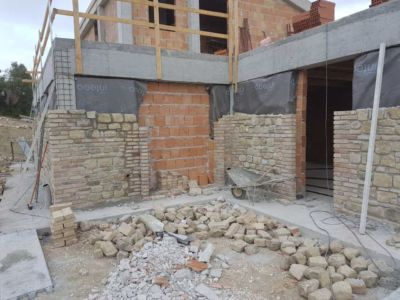 Corner Near Kitchen showing stone work on a new house in Le Marche
