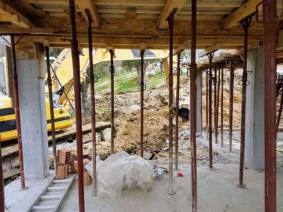 Digging in Front of Kitchen as part of house construction project in Le Marche