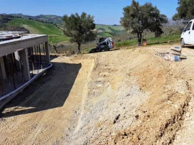 Front and Slope Down from Parking at new house being constructed in Le Marche