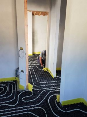 Heating for the Two Bedrooms using underfloor pipes at a new house in Le Marche