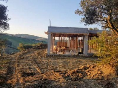 House from South Side at new house being constructed in Le Marche