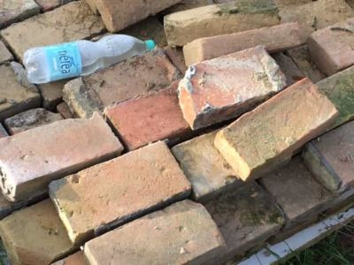 Bricks Reclaimed from Ruin at new house construction site in Le Marche