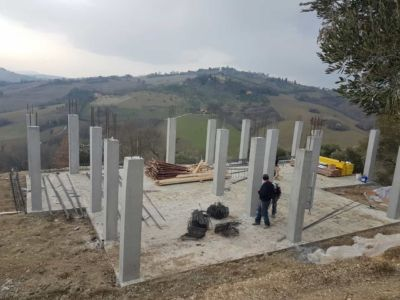 Ground Floor Columns Complete at new house construction site in Le Marche