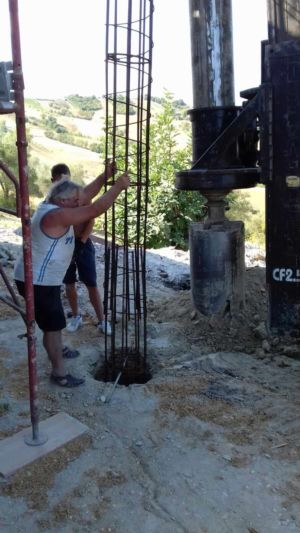 Inserting Portico Support Steel at a new house in Le Marche
